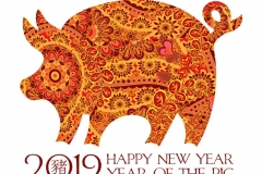 Hand drawn zentangle ornate pig. 2019 chinese new year and christmas greeting cards.